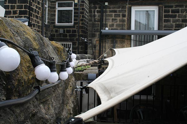 stretch tent hire horsforth west yorkshire queens arms pub beer garden cover smoking shelter cover pub Leeds stretch tent rental pub extension tent rental