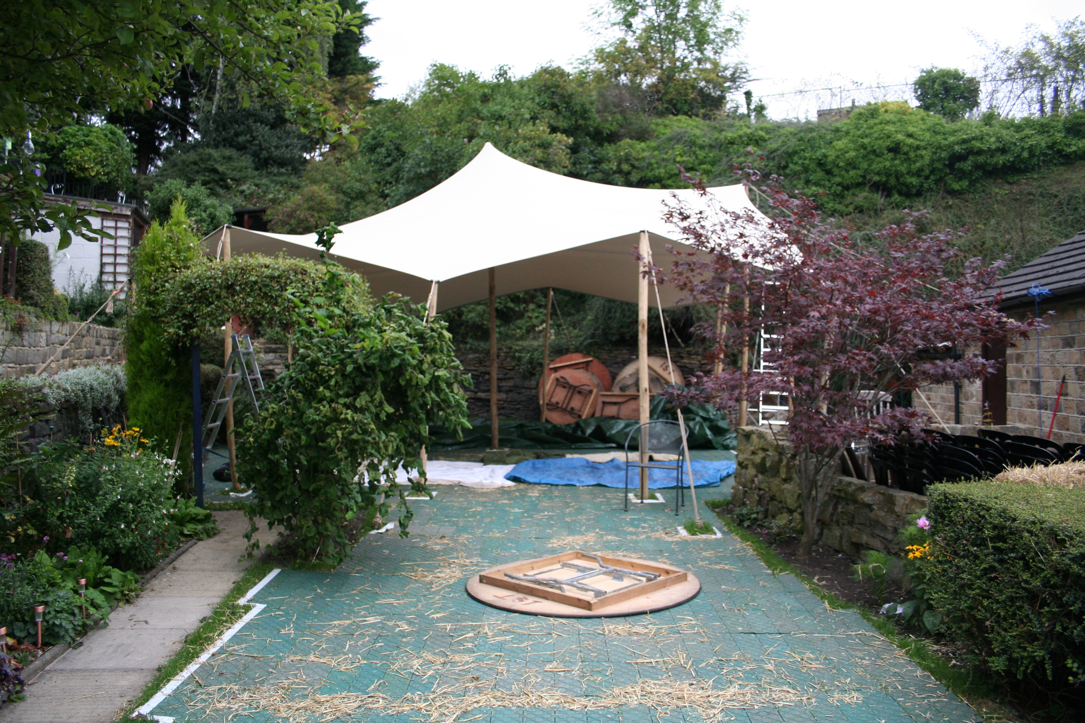 stretch tent hire mirfield west yorkshire wedding at home in the garden blind test the pork pie for the wedding food