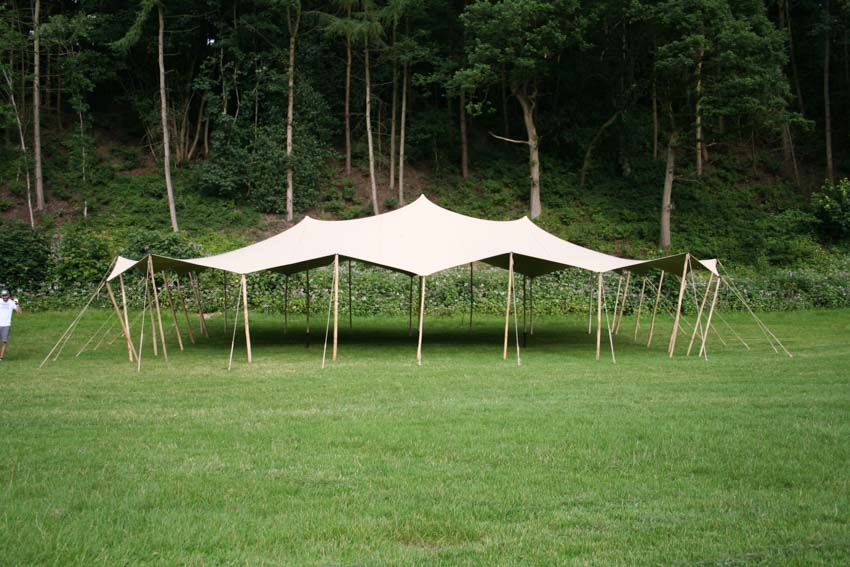 stretch tent hire stockport etherow country park canopy stretch marquee three wooden king poles stretch tent hire Etherow county park marquee alternative canopy structure
