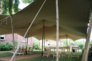 marriage ceremony tent hire flexible alternative to marquee hire stretch tent on listed site stretch tent site visit stretch tent hire yorkshire extra poles for aisle wedding venue ceremony tent Thwaite mill UK alternative to marquee hire