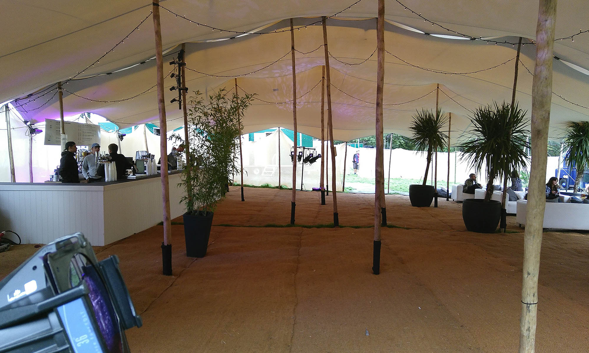 wales vip stretch tent hire stretch tent rental for festival number 6 canopy tent with lycra walls wooden poles bar stage lighting and flooring hire