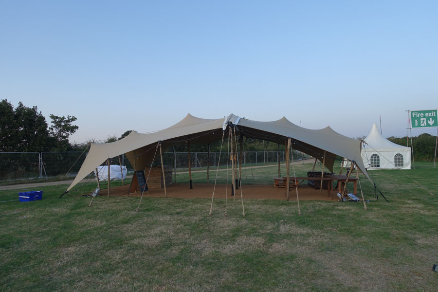 6.5x11m stretch tent reception tent for podpads boutique camping company stretch tent hire